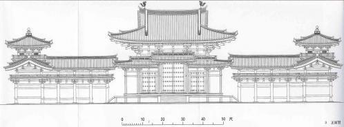 平等院鳳凰堂正面立面図