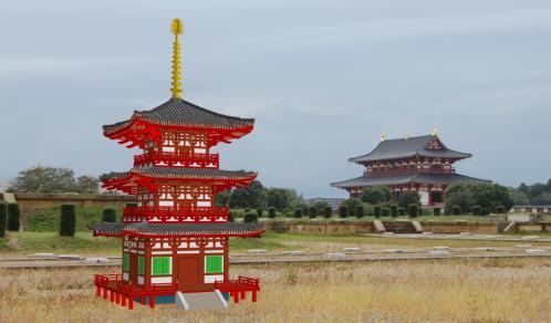 平城宮大極殿と三重塔