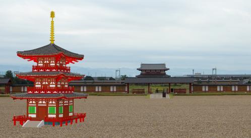 平城宮朱雀門を望む三重塔