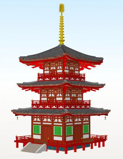 興福寺三重塔(斜め)