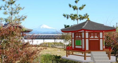 霊峰富士と六角堂