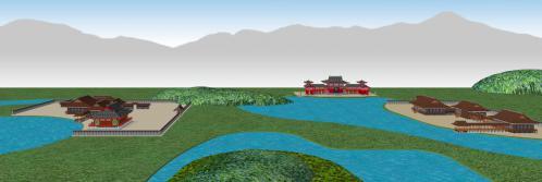 1-⑦鳥羽離宮東から見た北殿と南殿と勝光明院