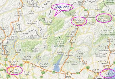 イタリア北部地図