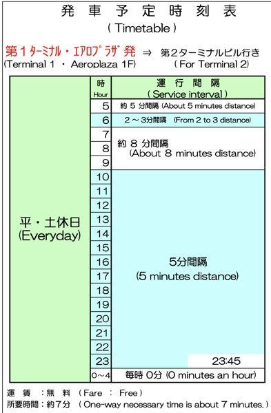 連絡バス 運行時刻表