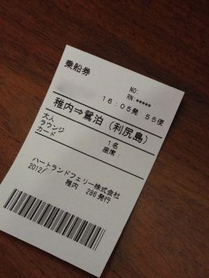 利尻島行きのチケット
