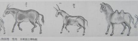 雪舟の馬,駱駝作品