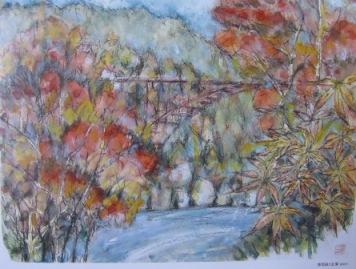 恵那峡と紅葉