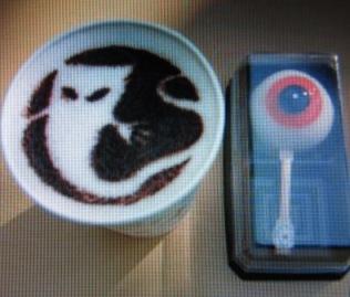 一反木綿コーヒーと目玉おやじ饅頭
