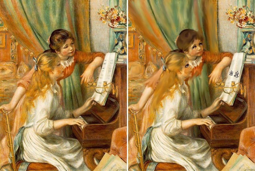 ピアノに寄る少女たち ルノワール