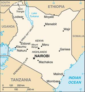 ケニア共和国の地図