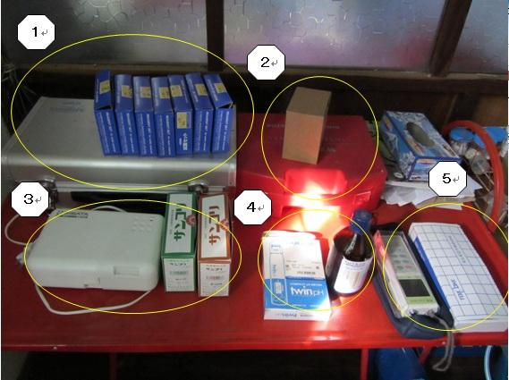 水質検査に使用する器具