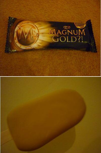 金色に輝くアイスクリーム