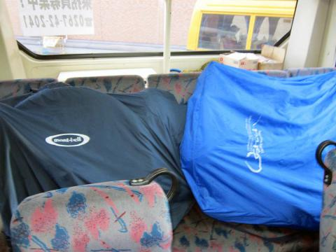 バス座席の輪行袋