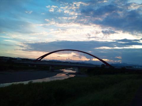 夕景の多摩大橋