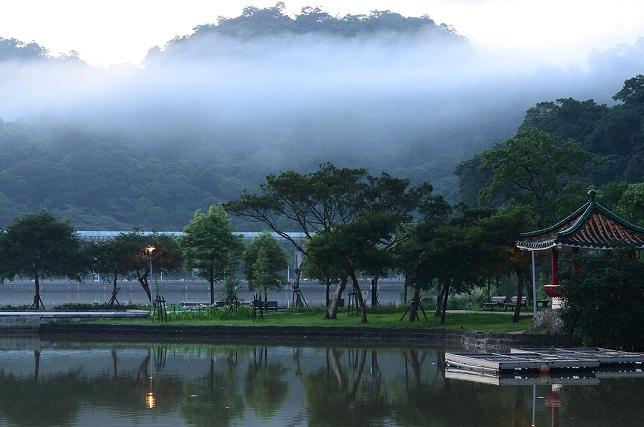 湖畔の朝霧