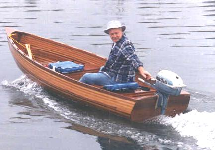 Wooden Row Boat With Motor