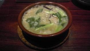 本日のオジヤ 牡蛎と青菜