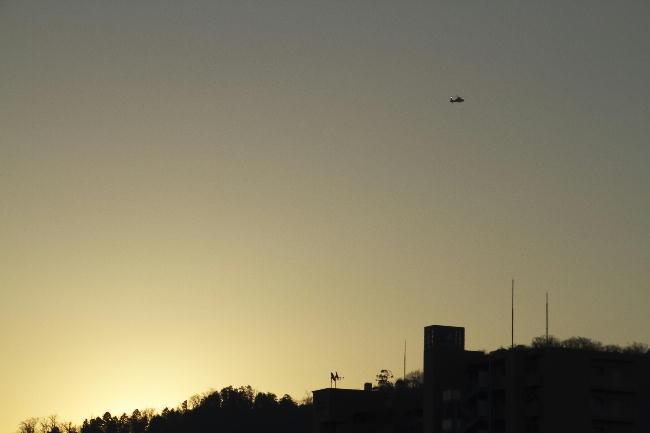 13日朝ヘリコプター
