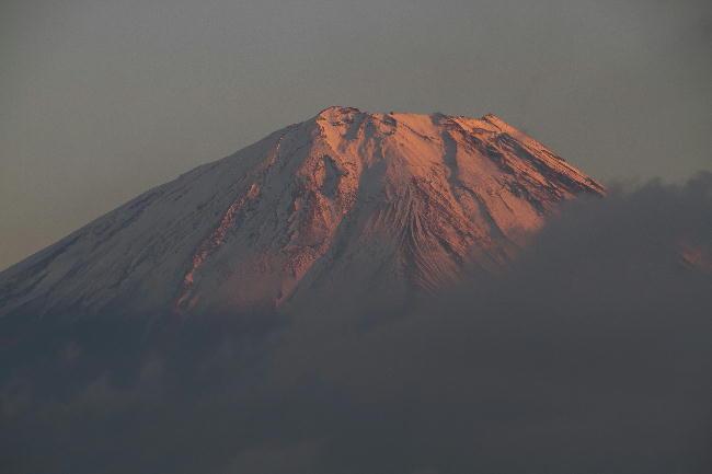 精進湖の夕富士