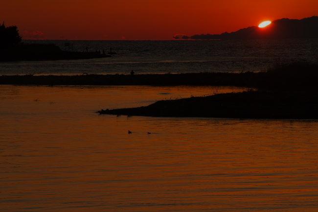 狩野川の夕日-1-2