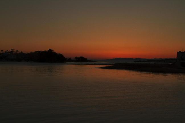 狩野川の夕日-4
