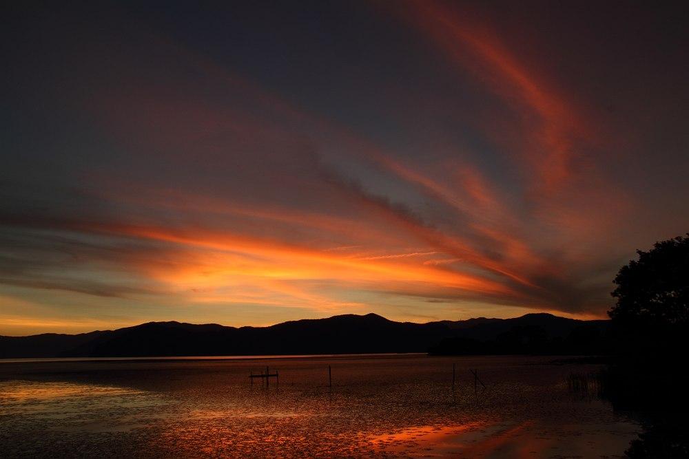 夕景 流れる雲