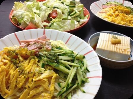 冷やし中華+お豆腐のおひたし+グリーンサラダ