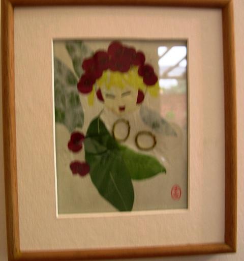 押f花絵のア-ト 6。フランスの印象派の絵を思わせる野菜と花で出来たスケッチ。