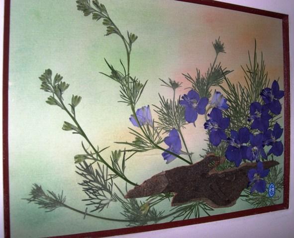 押花絵ア-ト 1 活け花のように美しい押し花絵。活け花と違う点は、何時までも色落ちもせず、額として部屋の飾りになること。 JPG