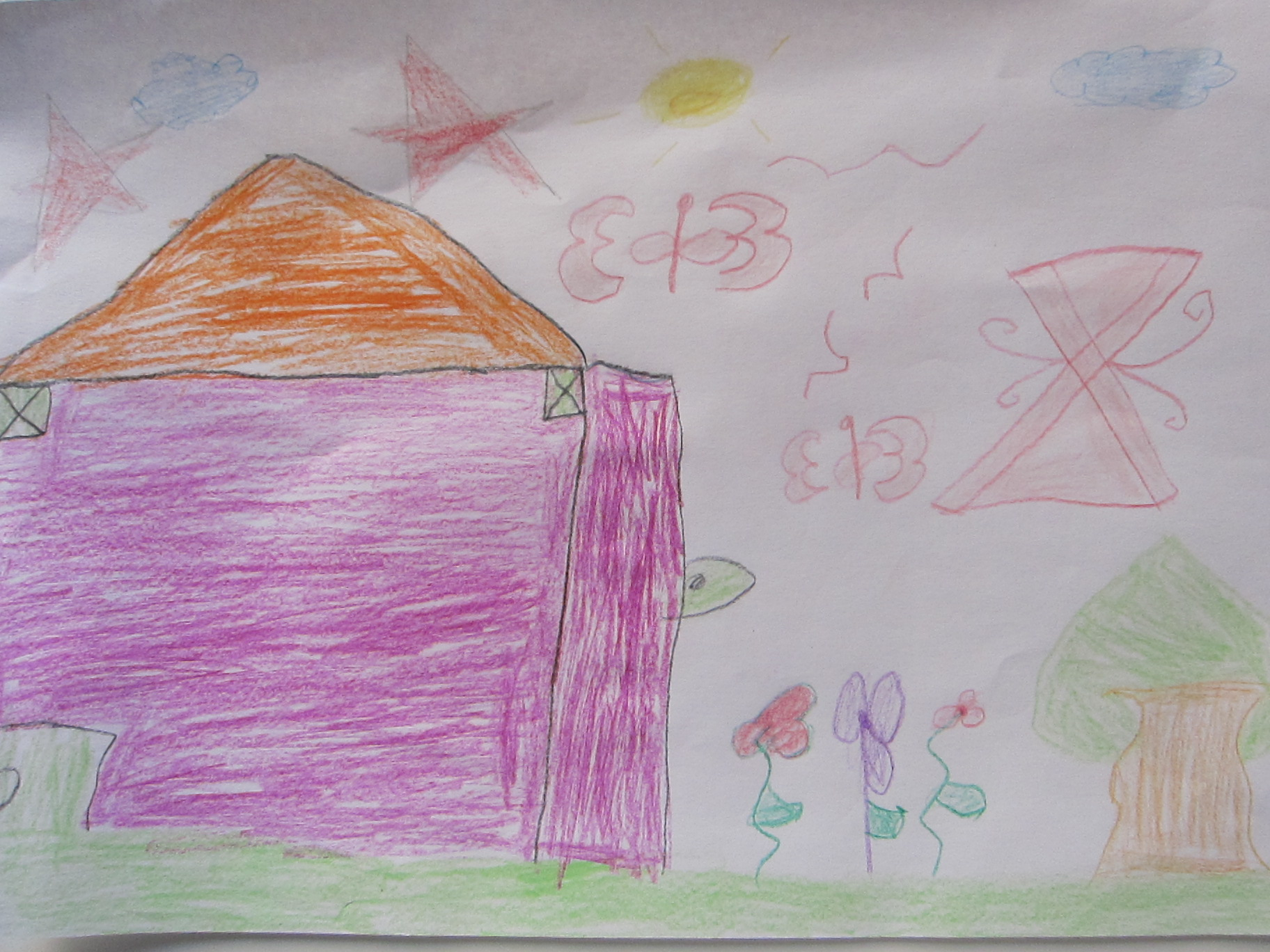 child drawing house