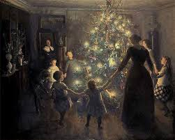 christmas tree mother and children