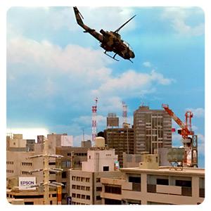 特撮博物館 ミニチュアで見る昭和平成の技・ジオラマブースのヘリと街並み