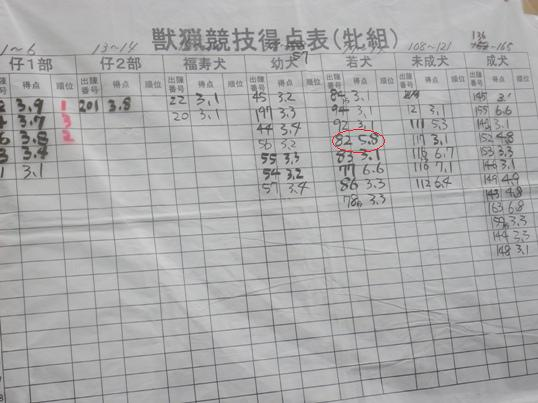 2012.7.22 獣猟競技得点表(牝)