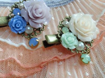 ドール用薔薇カボションとクイスタライズのヘアクリップ4_convert_20120528124613