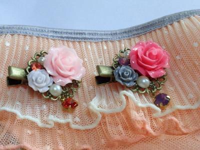 ドール用薔薇カボションとクイスタライズのヘアクリップ2_convert_20120528124551