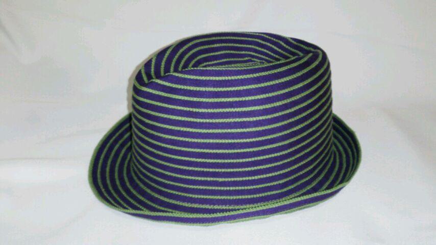 真田紐ハット 紫に緑耳