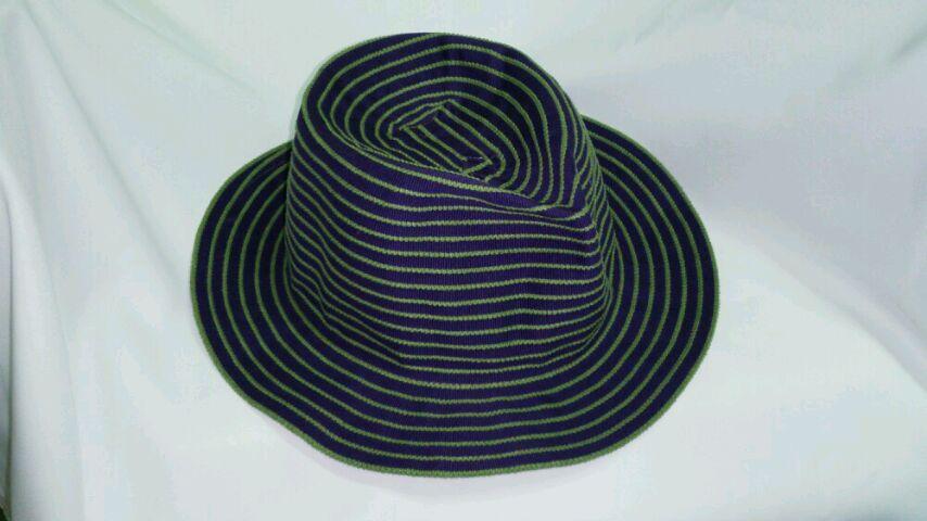 真田紐ハットポークパイつまみ 紫に緑耳