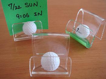 ゴルフボール入り、メモスタンド