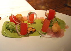 Mussels, watermelon, avocado, mezcal