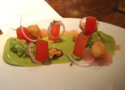 Mussels, watermelon, avocado, mezcal