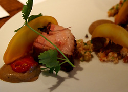 Pork belly, curried eggplant, cous cous, pickled peach