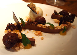 Chocolate ganache, almond, passion fruit, mint ice cream
