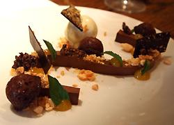 Chocolate ganache, almond, passion fruit, mint ice cream