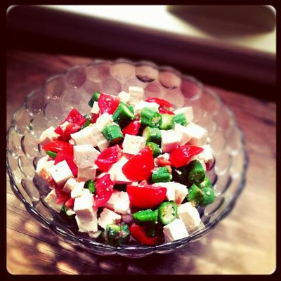 オクラ、トマト、豆腐のサラダ
