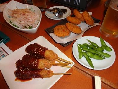 串カツ、大根サラダ、コロッケ、枝豆