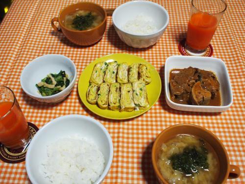朝食☆卵焼き&キャベツとあおさの味噌汁