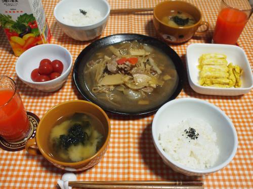 朝食☆豚肉と野菜の炒め煮&玉子焼き