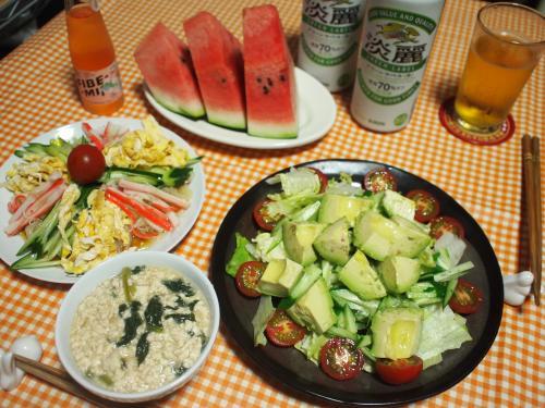 晩酌☆こんにゃく冷やし中華&アボカドサラダ&豆腐とひき肉とほうれん草の炒め煮