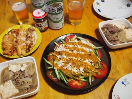 晩酌☆梅ササミカツ&肉豆腐棒々鶏サラダ