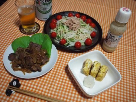 晩酌☆鶏レバー甘辛煮&大根きゅうりトマトのツナサラダ&玉子焼き